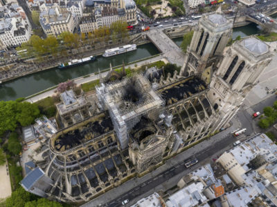 An aerial shot of the fire damage to Notre Dame cathedral in Paris. (Gigarama.ru via AP)