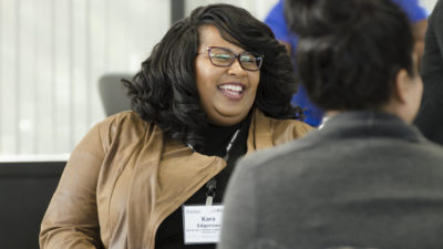 Kara Edgerson, now senior editor at Columbus Ledger-Enquirer, talks with her Diversity Academy cohort. (Tom Cawthorn)