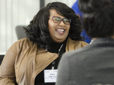 Kara Edgerson, now senior editor at Columbus Ledger-Enquirer, talks with her Diversity Academy cohort. (Tom Cawthorn)