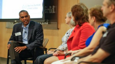 In this 2014 file photo, former (Raleigh, North Carolina) News & Observer publisher Orage Quarles III leads a panel of entrepreneurs. (Photo by Ray Black III/The News & Observer)