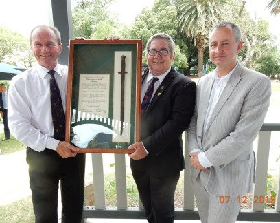 Hon. Martin Hamilton-Smith with Barry Gracey from the Pozieres Remebrance Assn. and Dr John Weste from the SA Parliament Research Library