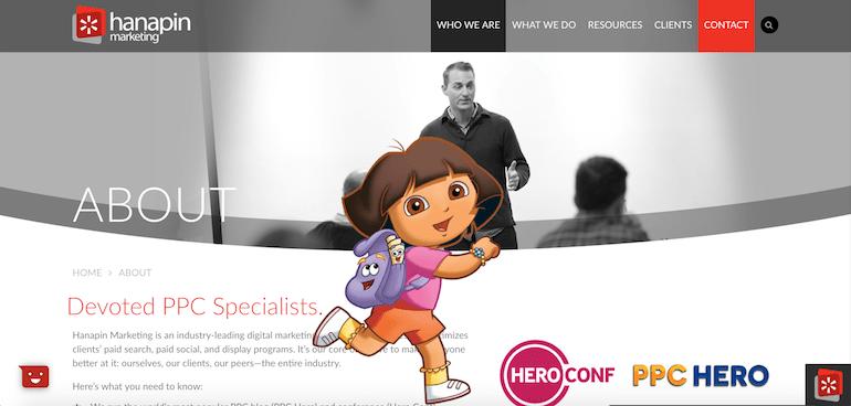 Dora the Explorer on Hanapin's site