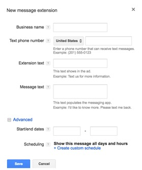Setting up message extensions