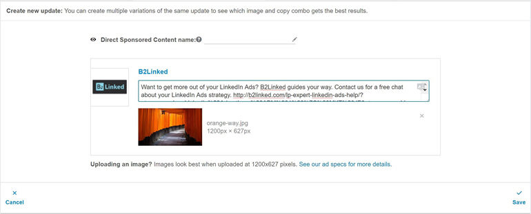 Locate and upload desired image into the ad creator