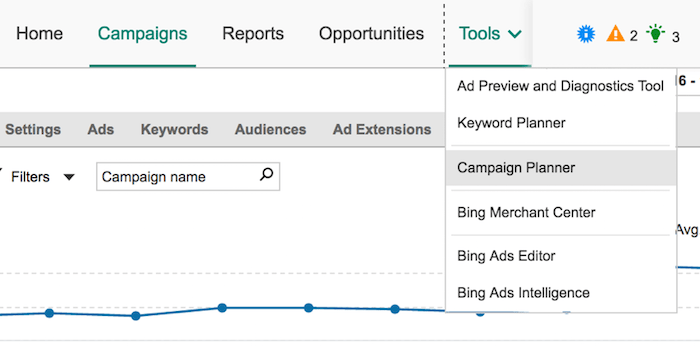 Bing Campaign Planner