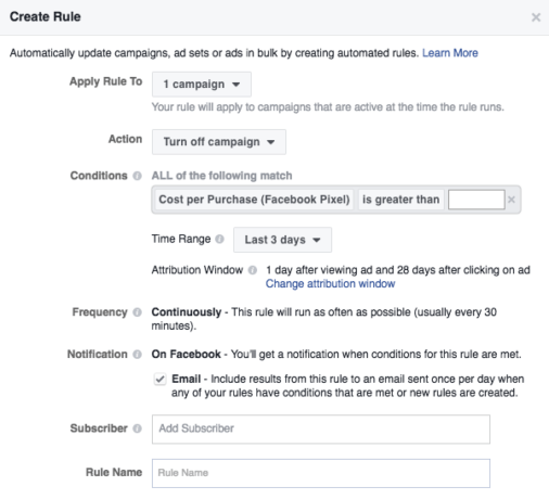 Creating Facebook automated rules