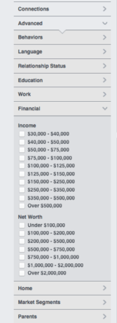 Income targeting in Facebook