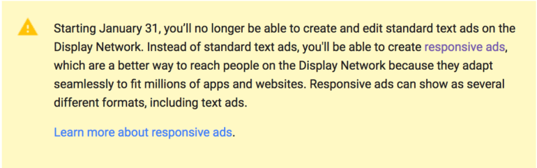 Display Network notice moving from standard text ads to responsive ads