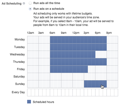 Facebook ad set scheduling rules