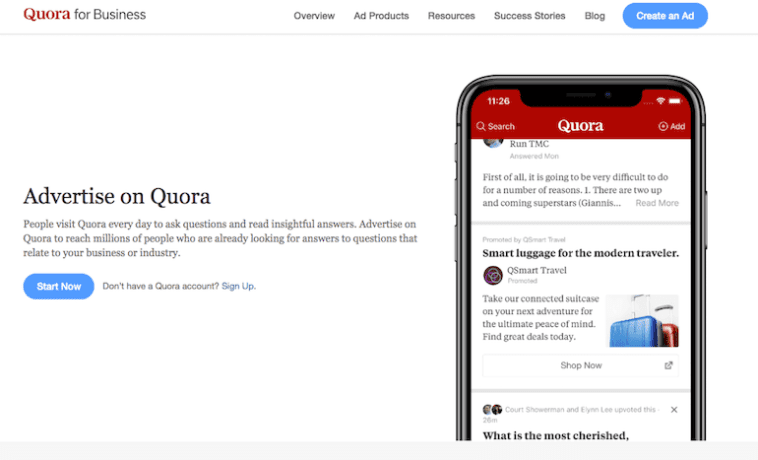 quora advertising sign up