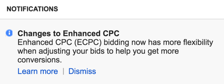 Changes to Enhanced CPC