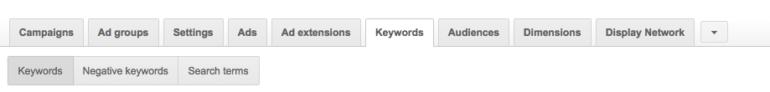 Campaign keywords tab