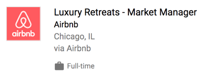 Airbnb job posting in Google for Jobs