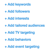 Available targeting options for Twitter ads
