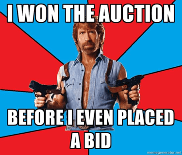 I won the auction before I even placed a bid