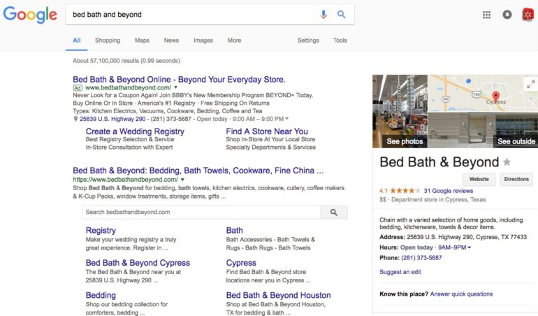 Bed Bath & Beyond Google organic search results