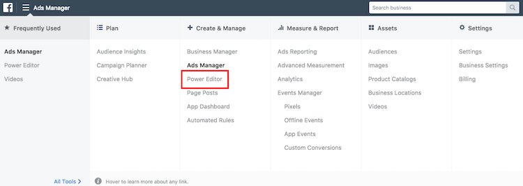 Location of the Facebook power editor in the ads manager