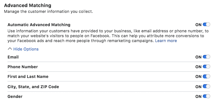 Facebook Ads Advanced Match Setting