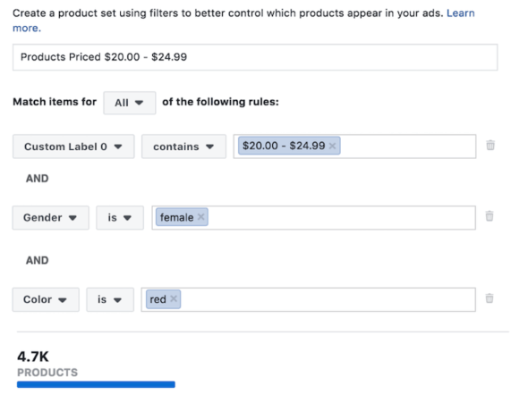 Facebook Ads Custom Product Set Example