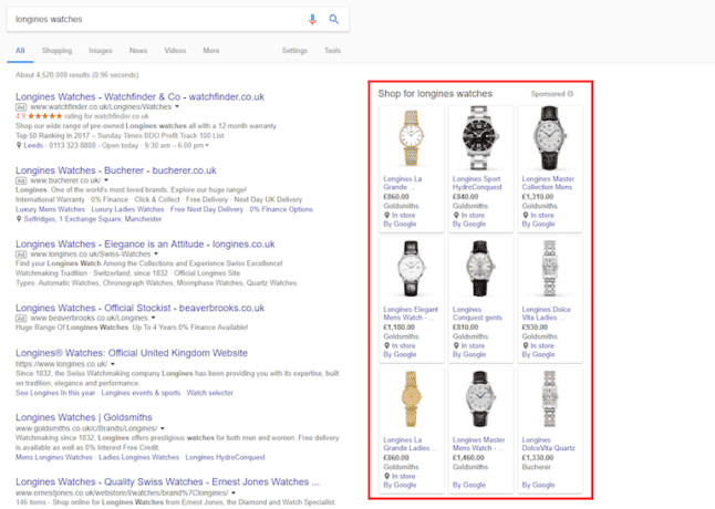 Google Ads search results for shopping ads
