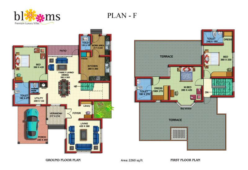 Ground Floor plan Blooms - Prime Property Developers