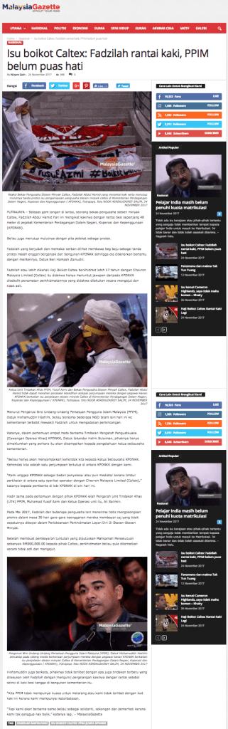 Isu boikot Caltex  Fadzilah rantai kaki  PPIM belum puas hati   MalaysiaGazette