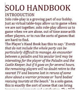 The Castles and Crusades Solo Handbook is a bit of a wall of text right now.