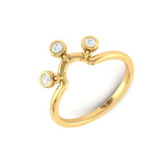 Dropping Diamond Ring In Gold