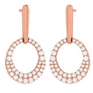 Hanging Rose Gold Oval Earrings