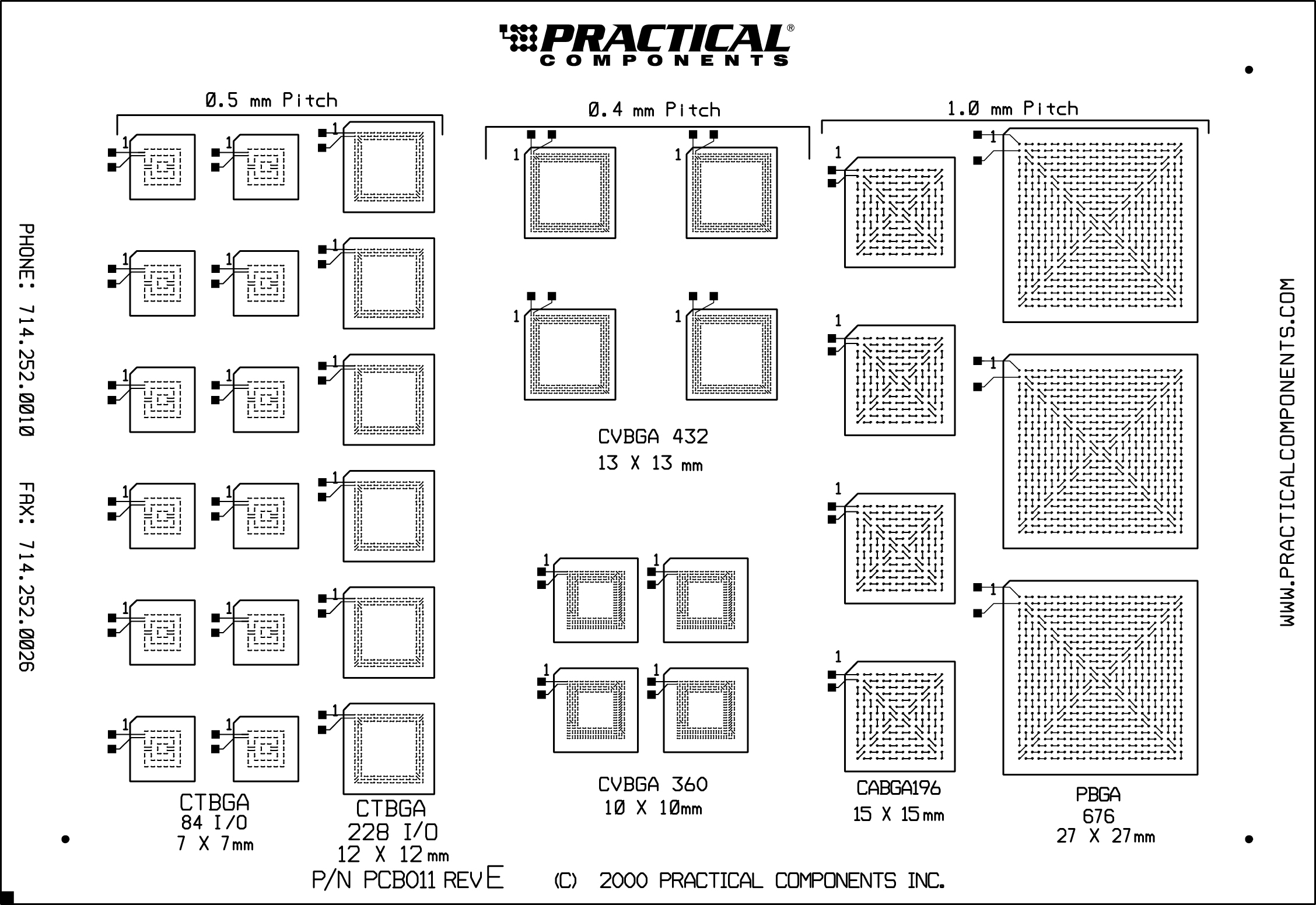 Pc011 Bga Fine Pitch Board And Kit