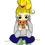 cartoon of a girl eating a cookie illustrating an article about writing for children