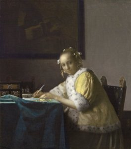 old painting of a woman writing at a desk illustrating a creative writing article about choosing your story themes