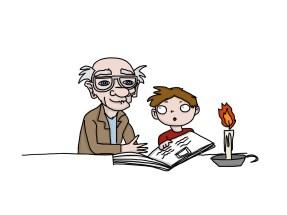 grandad reading to grandson
