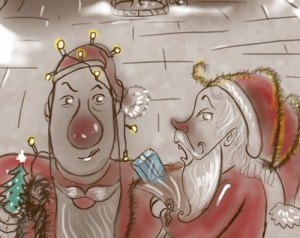 Santa and Rudolph illustrating a post about Christmas in Freebie Land