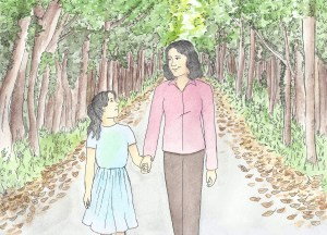 Painting of a mother and daughter walking through the woods illustrating an article about how to write for children