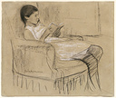 old drawing of a woman reading illustrating an article about the writers muse