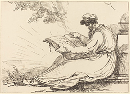 Old drawing of a man-reading to illustrate an article about giving up the day job to write