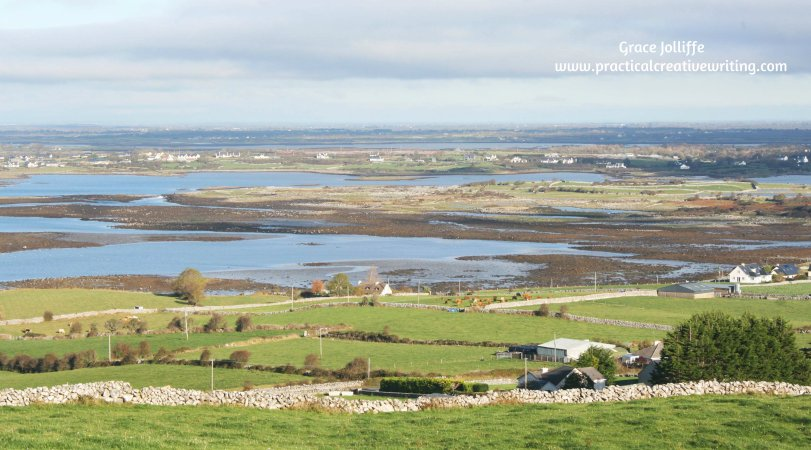 view over Ireland's burren illustrating Grace Jolliffe's contact details page
