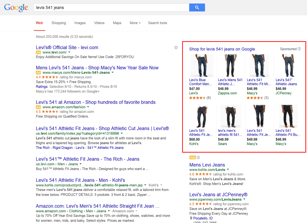 """Product ads (on top right, in the red box) for the term """"""""levis 541 jeans,"""" in Google search results."""