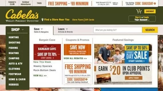 Discounts and special offers are easy to find on the Cabela's site.