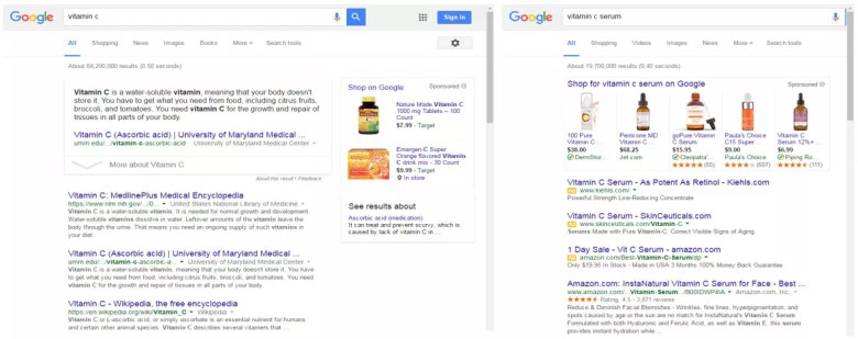 informational and ecommerce search results