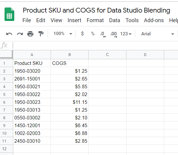 To set up COGS reporting, create a Google Sheet that lists product SKU's and their COGS.