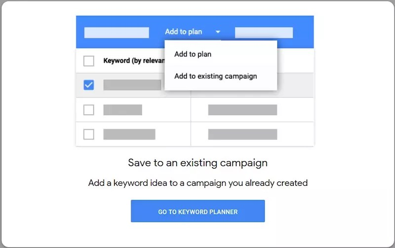 """""""Add to existing campaign"""" streamlines the process of attaching keywords."""