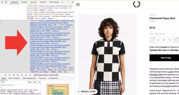 Notice that the Fred Perry site is offering the browser several product image options. These options are passed via the <em>srcset</em> attribute.