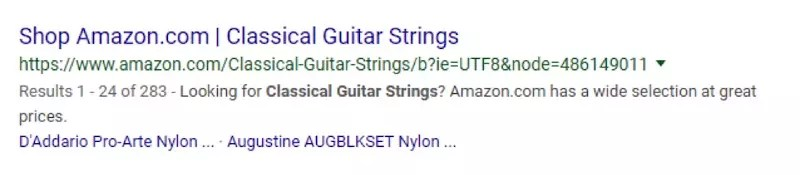 "The listing from Amazon uses the word ""shop"" — an eye catcher for potential buyers — but it limits the audience to ""classical guitar strings."""