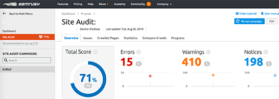 SEMrush shows issues and errors on its site audit report.