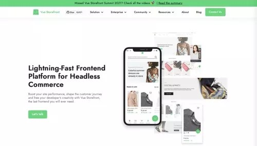 Home page of Vue Storefront