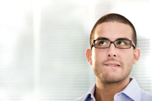 young business man doubt at office