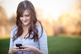 a girl returning a call with a text