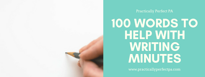100 words to help with minute taking cheat sheet
